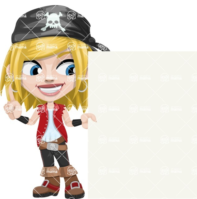 Girl with Pirate Costume Cartoon Vector Character AKA Dea - Sign 8