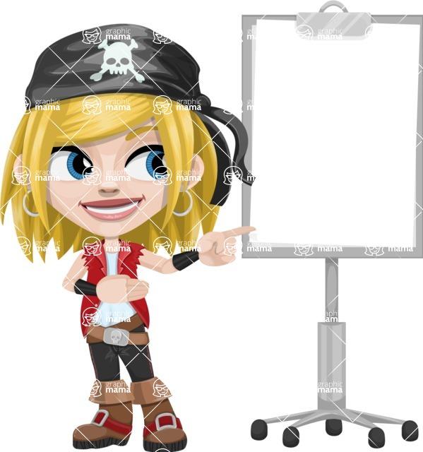 Girl with Pirate Costume Cartoon Vector Character AKA Dea - Presentation 2