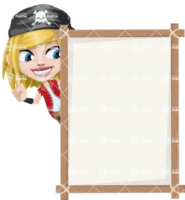 Girl with Pirate Costume Cartoon Vector Character AKA Dea - Presentation 4