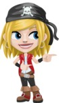 Girl with Pirate Costume Cartoon Vector Character AKA Dea - Point 2