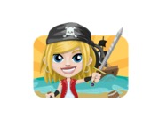 Girl with Pirate Costume Cartoon Vector Character AKA Dea - Shape 2