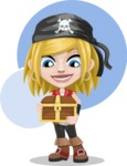 Girl with Pirate Costume Cartoon Vector Character AKA Dea - Shape 5