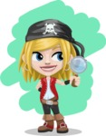 Girl with Pirate Costume Cartoon Vector Character AKA Dea - Shape 7