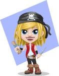 Girl with Pirate Costume Cartoon Vector Character AKA Dea - Shape 10