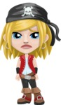 Girl with Pirate Costume Cartoon Vector Character AKA Dea - Sad