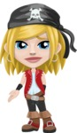 Girl with Pirate Costume Cartoon Vector Character AKA Dea - Sad 2