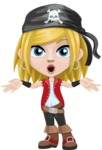 Girl with Pirate Costume Cartoon Vector Character AKA Dea - Shocked