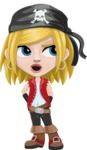 Girl with Pirate Costume Cartoon Vector Character AKA Dea - Rolls Eyes