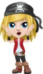 Girl with Pirate Costume Cartoon Vector Character AKA Dea - Confused