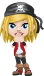 Girl with Pirate Costume Cartoon Vector Character AKA Dea - Blank