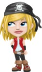 Girl with Pirate Costume Cartoon Vector Character AKA Dea - Bored