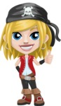 Girl with Pirate Costume Cartoon Vector Character AKA Dea - Thumbs Up