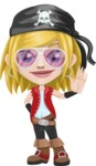 Girl with Pirate Costume Cartoon Vector Character AKA Dea - Sunglasses 2