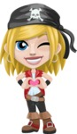 Girl with Pirate Costume Cartoon Vector Character AKA Dea - Show Love