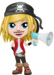 Girl with Pirate Costume Cartoon Vector Character AKA Dea - Loudspeaker