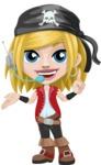 Girl with Pirate Costume Cartoon Vector Character AKA Dea - Support 2