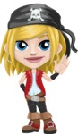 Girl with Pirate Costume Cartoon Vector Character AKA Dea - Wave