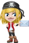 Girl with Pirate Costume Cartoon Vector Character AKA Dea - Letter