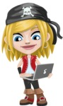 Girl with Pirate Costume Cartoon Vector Character AKA Dea - Laptop