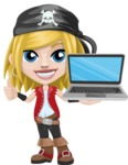 Girl with Pirate Costume Cartoon Vector Character AKA Dea - Laptop 2