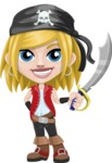 Girl with Pirate Costume Cartoon Vector Character AKA Dea - Sword 1