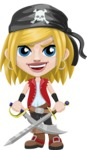 Girl with Pirate Costume Cartoon Vector Character AKA Dea - Sword 2