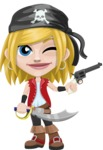 Girl with Pirate Costume Cartoon Vector Character AKA Dea - Sword and Gun