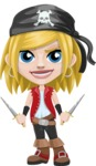 Girl with Pirate Costume Cartoon Vector Character AKA Dea - Daggers