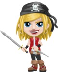 Girl with Pirate Costume Cartoon Vector Character AKA Dea - Sword and Dagger