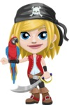 Girl with Pirate Costume Cartoon Vector Character AKA Dea - Parrot and Sword