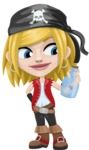 Girl with Pirate Costume Cartoon Vector Character AKA Dea - Map in a bottle