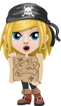 Girl with Pirate Costume Cartoon Vector Character AKA Dea - Open map