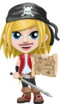 Girl with Pirate Costume Cartoon Vector Character AKA Dea - Sword and Open map