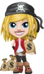 Girl with Pirate Costume Cartoon Vector Character AKA Dea - Bag of money