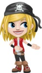 Girl with Pirate Costume Cartoon Vector Character AKA Dea - Show