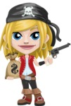Girl with Pirate Costume Cartoon Vector Character AKA Dea - Bag of money and Gun