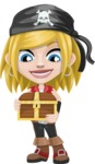 Girl with Pirate Costume Cartoon Vector Character AKA Dea - Treasure chest 1
