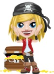 Girl with Pirate Costume Cartoon Vector Character AKA Dea - Treasure chest 2