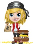 Girl with Pirate Costume Cartoon Vector Character AKA Dea - Treasure chest and bags of money