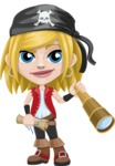 Girl with Pirate Costume Cartoon Vector Character AKA Dea - Map and Spy glass