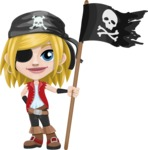 Girl with Pirate Costume Cartoon Vector Character AKA Dea - Pirate flag