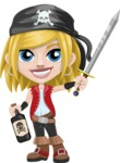 Girl with Pirate Costume Cartoon Vector Character AKA Dea - Bottle of rum and Sword