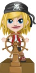 Girl with Pirate Costume Cartoon Vector Character AKA Dea - Ship wheel