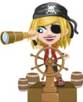 Girl with Pirate Costume Cartoon Vector Character AKA Dea - Ship wheel and Spy glass