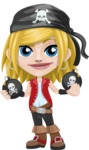 Girl with Pirate Costume Cartoon Vector Character AKA Dea - Bombs