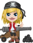 Girl with Pirate Costume Cartoon Vector Character AKA Dea - Cannon with cannon balls