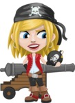 Girl with Pirate Costume Cartoon Vector Character AKA Dea - Cannon and Bomb