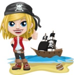 Girl with Pirate Costume Cartoon Vector Character AKA Dea - Pirate ship at sea