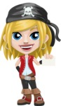 Girl with Pirate Costume Cartoon Vector Character AKA Dea - Sign 1