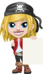 Girl with Pirate Costume Cartoon Vector Character AKA Dea - Sign 3